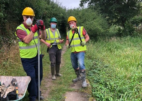 Volunteers on the towpath of the Montgomery Canal